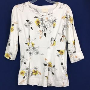 Anthropologie T.La Rooney fitted floral sleeve tee
